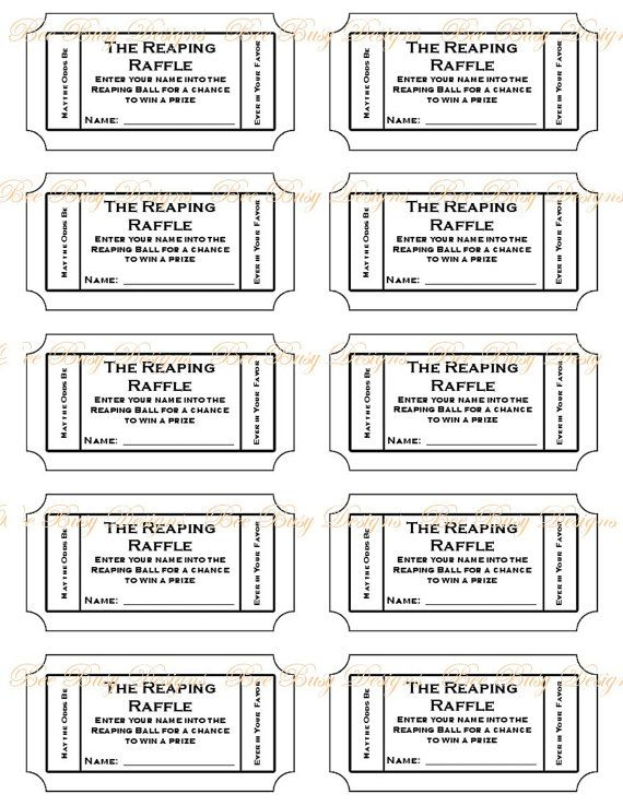 Printable The Reaping Raffle tickets Guest put their name on a - numbered tickets template