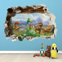 The good dinosaur wall sticker - 3d smashed bedroom boys ...
