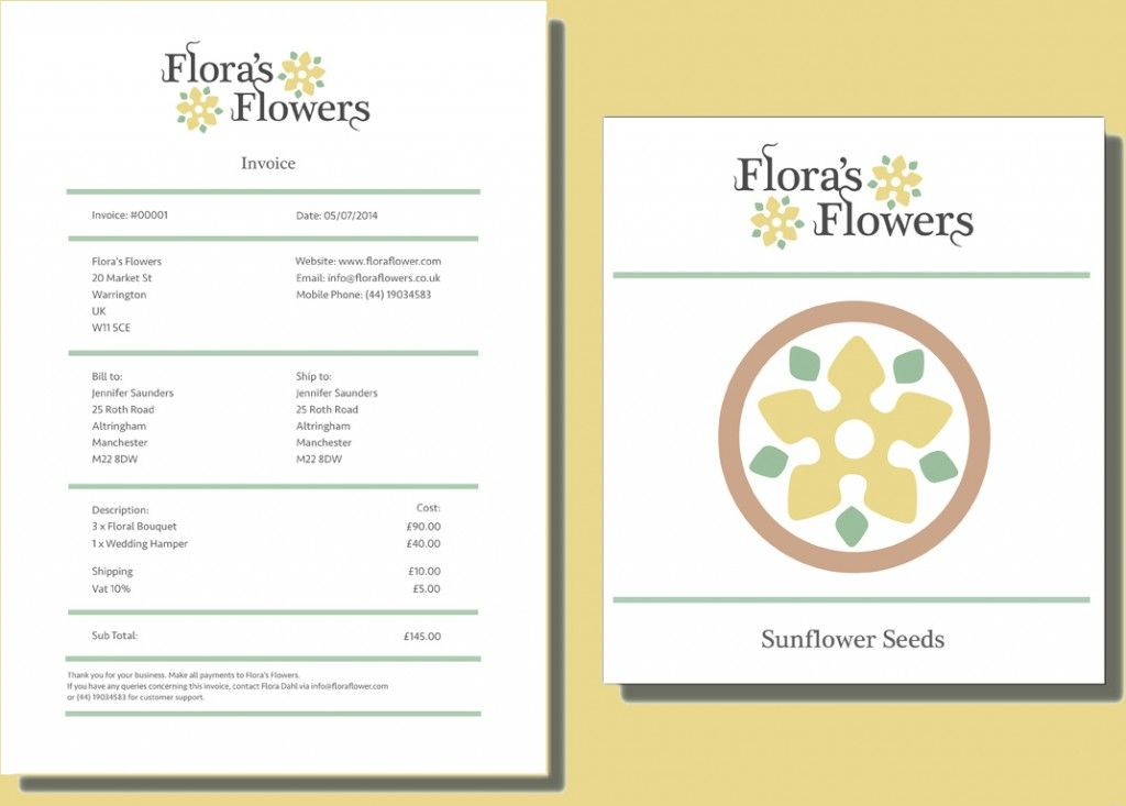 Printable Flowers Shop Cash Invoice Format Template - cash invoice template