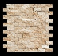 Light 1 X 2 Split Face Travertine Mosaic Tile -- so cool ...