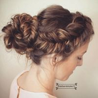 A Braided messy Fishtail Braid Updo into a Curly Bun ...