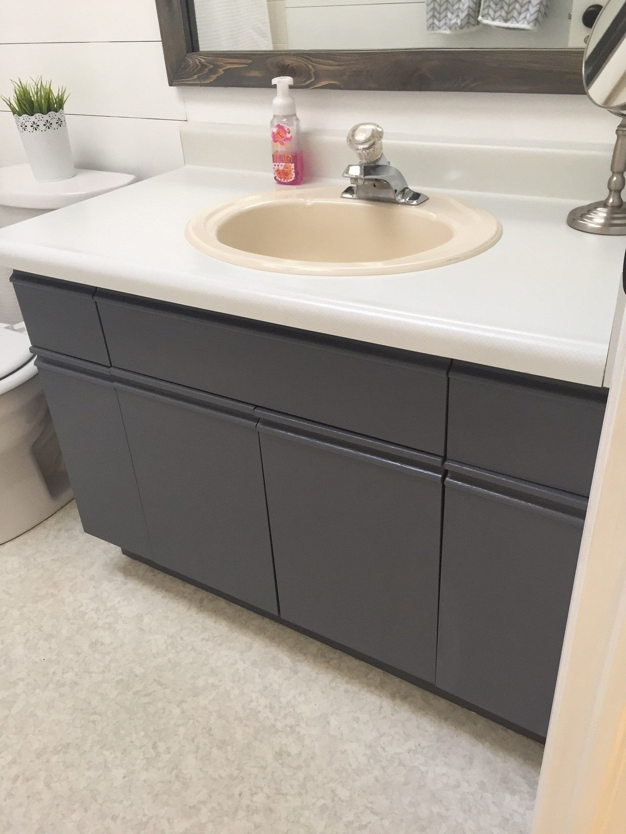 How To Update Laminate Kitchen Cabinets Bathroom Update 43 How To Paint Laminate Cabinets