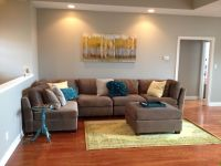 My new living room... Gray Sectional with Teal and yellow ...