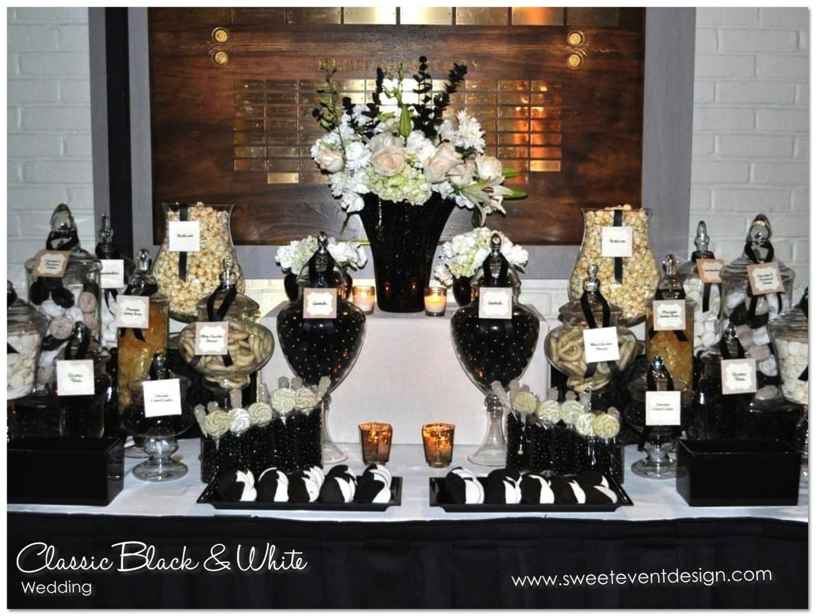 wedding candy bar BLACK CANDY BUFFETS BARS