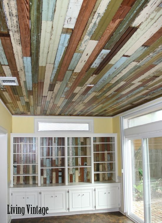 Country Living Room with Multi color Wood panel Print pure