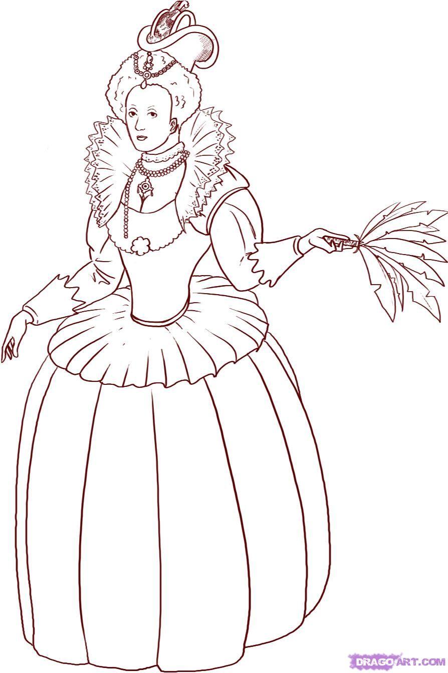 Coloring pages queen elizabeth 1 - Coloring Pages Queen Elizabeth How To Draw A Queen Step 6_1_000000008373_5 Jpg Download