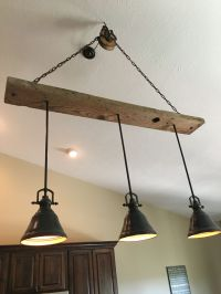 Barn wood pulley vaulted ceiling light fixture Pendants ...