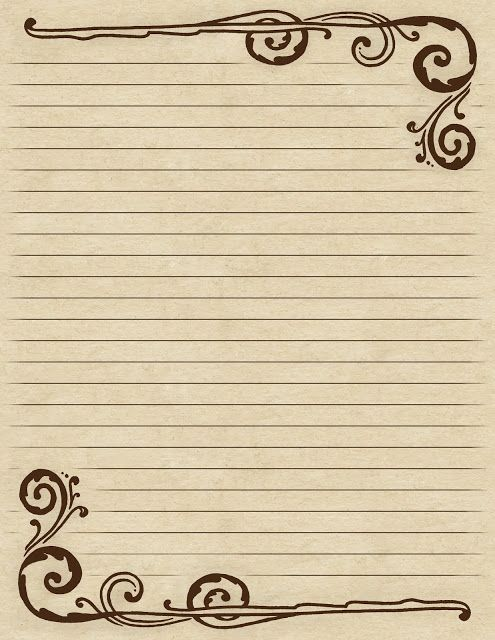 Lined paper with a Victorian-inspired ~ brown ~ swirl border - lined border paper