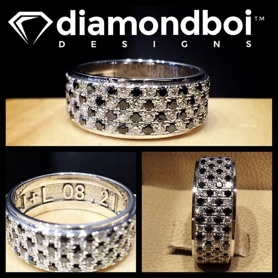 badass wedding rings How badass is this diamondboi checkered flag men s wedding band This design was