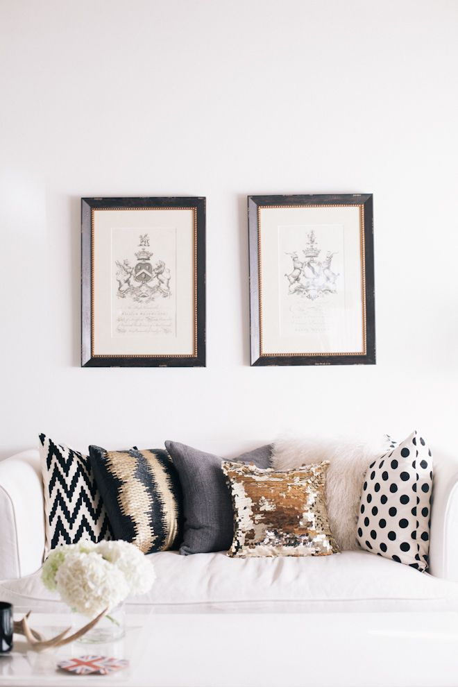 Pillows from west elm, target, and H\M! love this gold one! must - black white and gold living room ideas