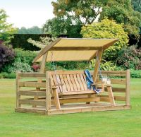 Outdoor Wooden Patio Swing Set With Canopy Oak Wood Frame ...