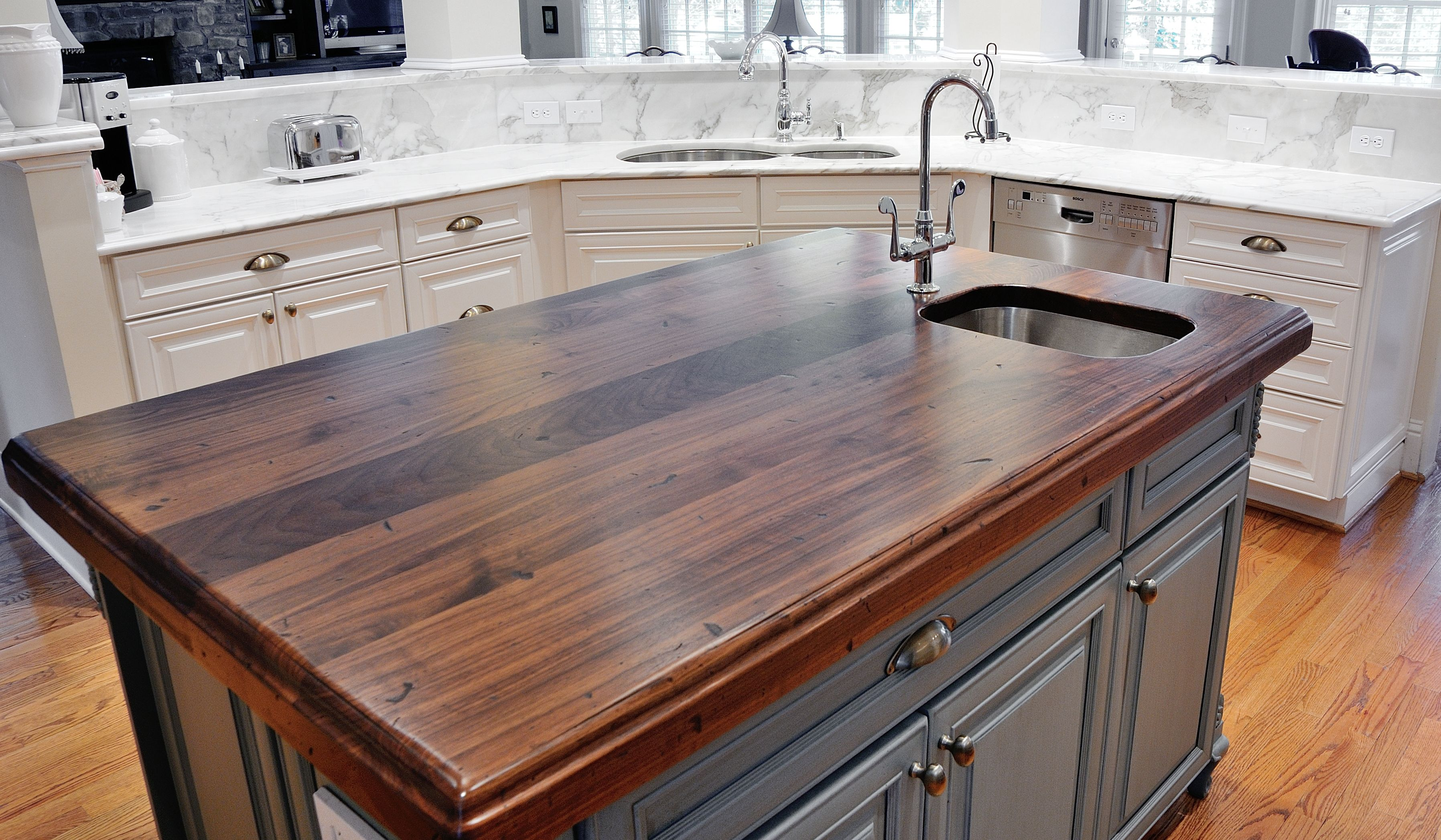 Wood Island Tops Kitchens Distressed Black Walnut Heritage Wood By @artisan Stone