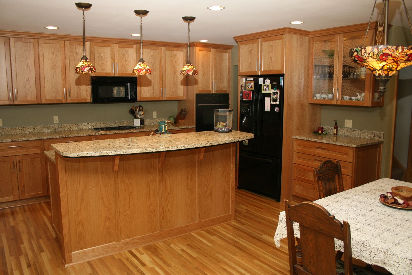 Kitchen Designs With Oak Cabinets And White Appliances Oak Kitchen Cabinets Granite Countertop Protime