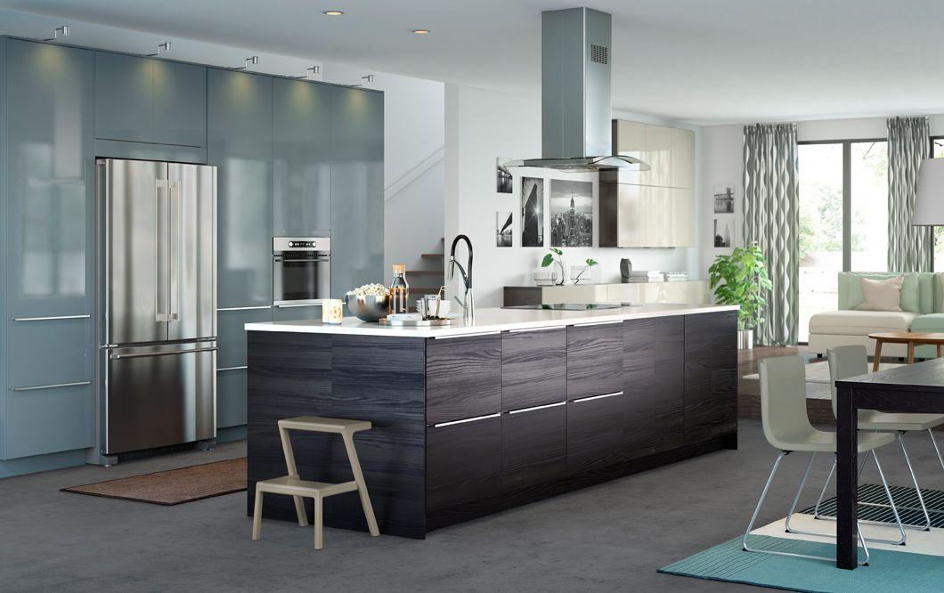 ... Minimalistischen Kuchen Von Zampieri Cucine. A Medium Sized Kitchen  With Grey Turquoise High Gloss Doors And   Die Modernen