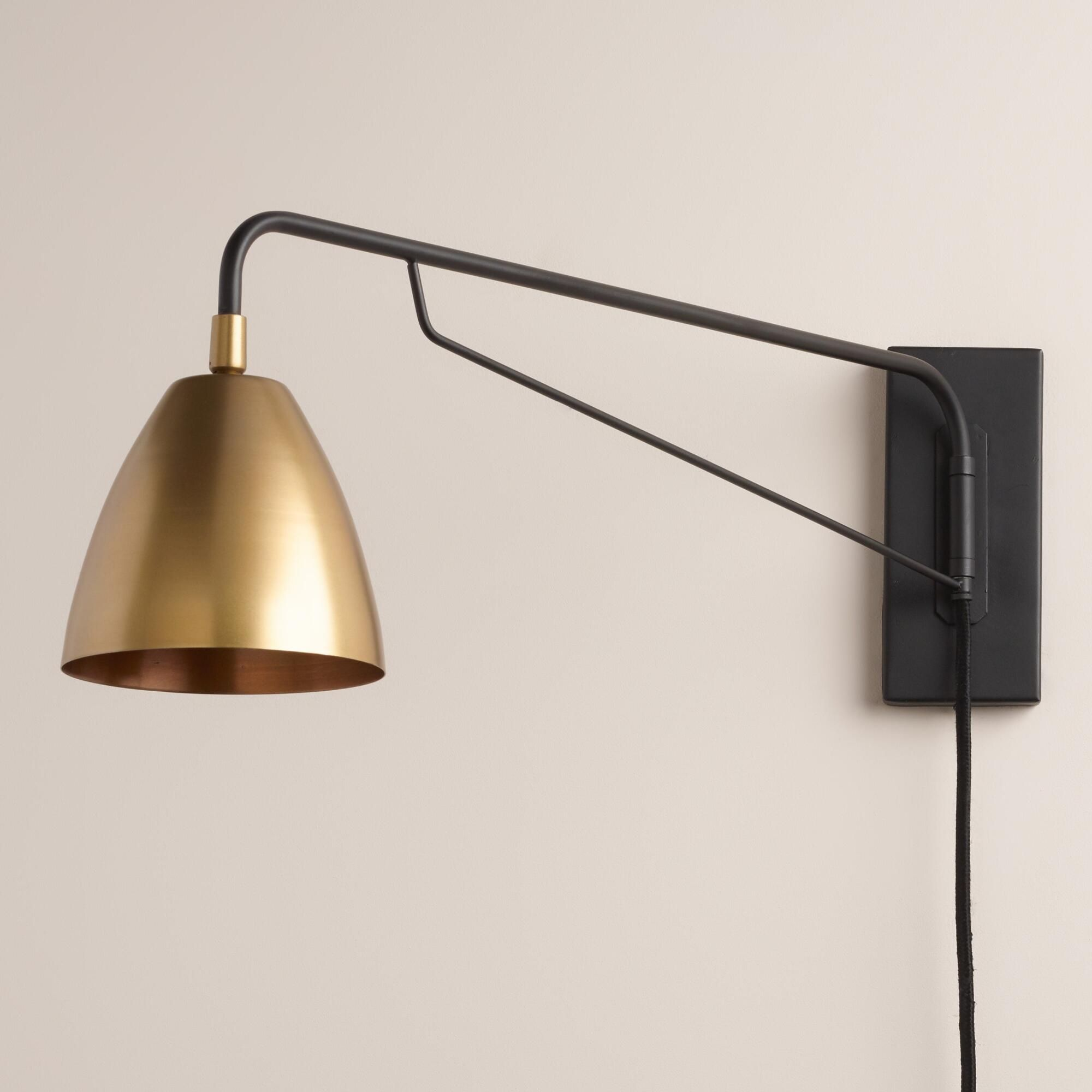 Modern Bedside Lights Crafted With A Pivoting Arm And Adjustable Antique Brass