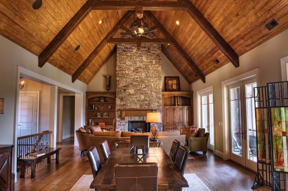 Wood beam ceilings living room rustic with wide plank