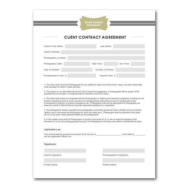 Squijoo - Photography Contract Template Things I want to do - photography contracts
