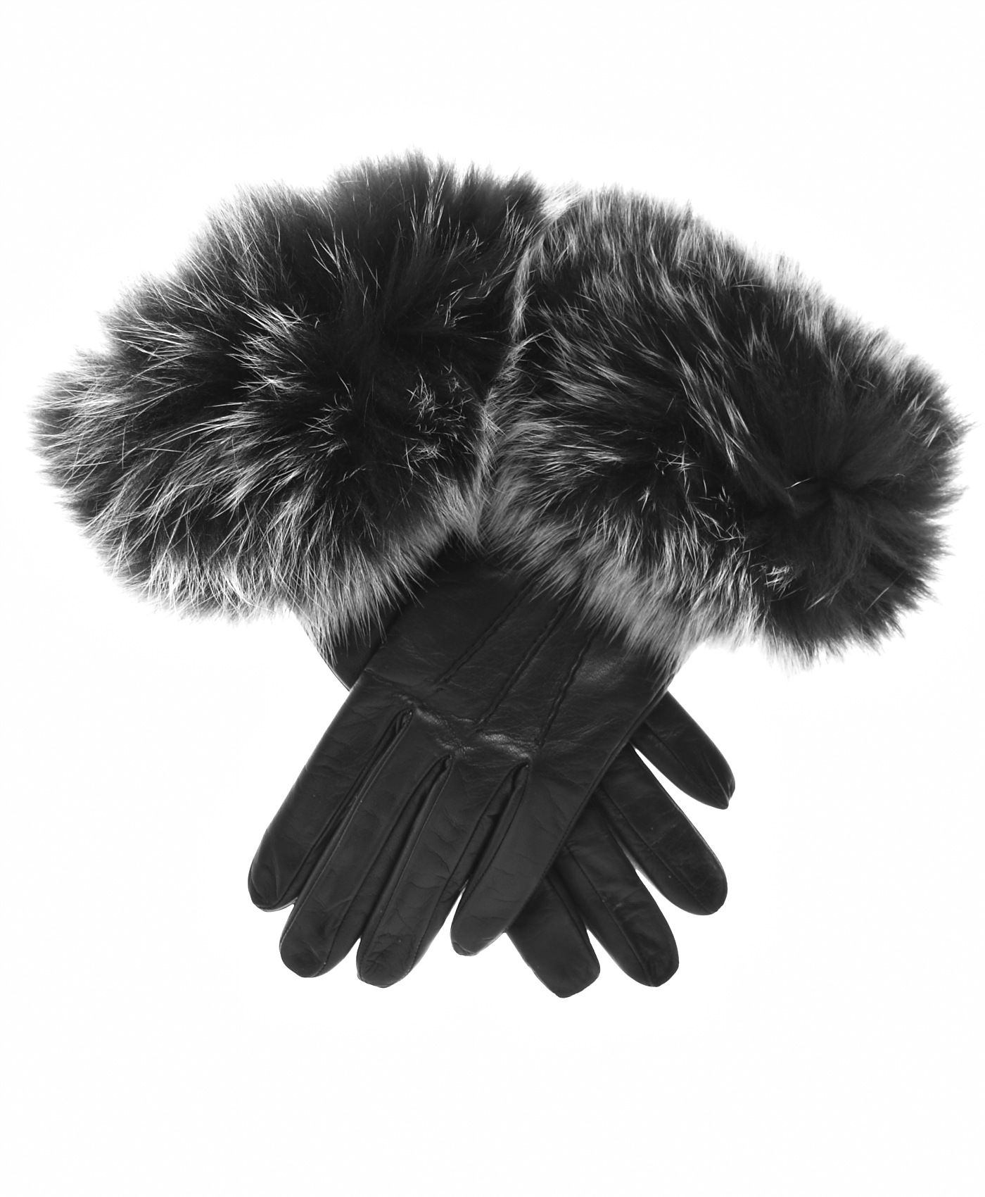 Black leather gloves with fur trim women s italian fox fur cuff cashmere lined leather