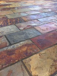 Colorful and rich slate tile with copper accent colors. By ...
