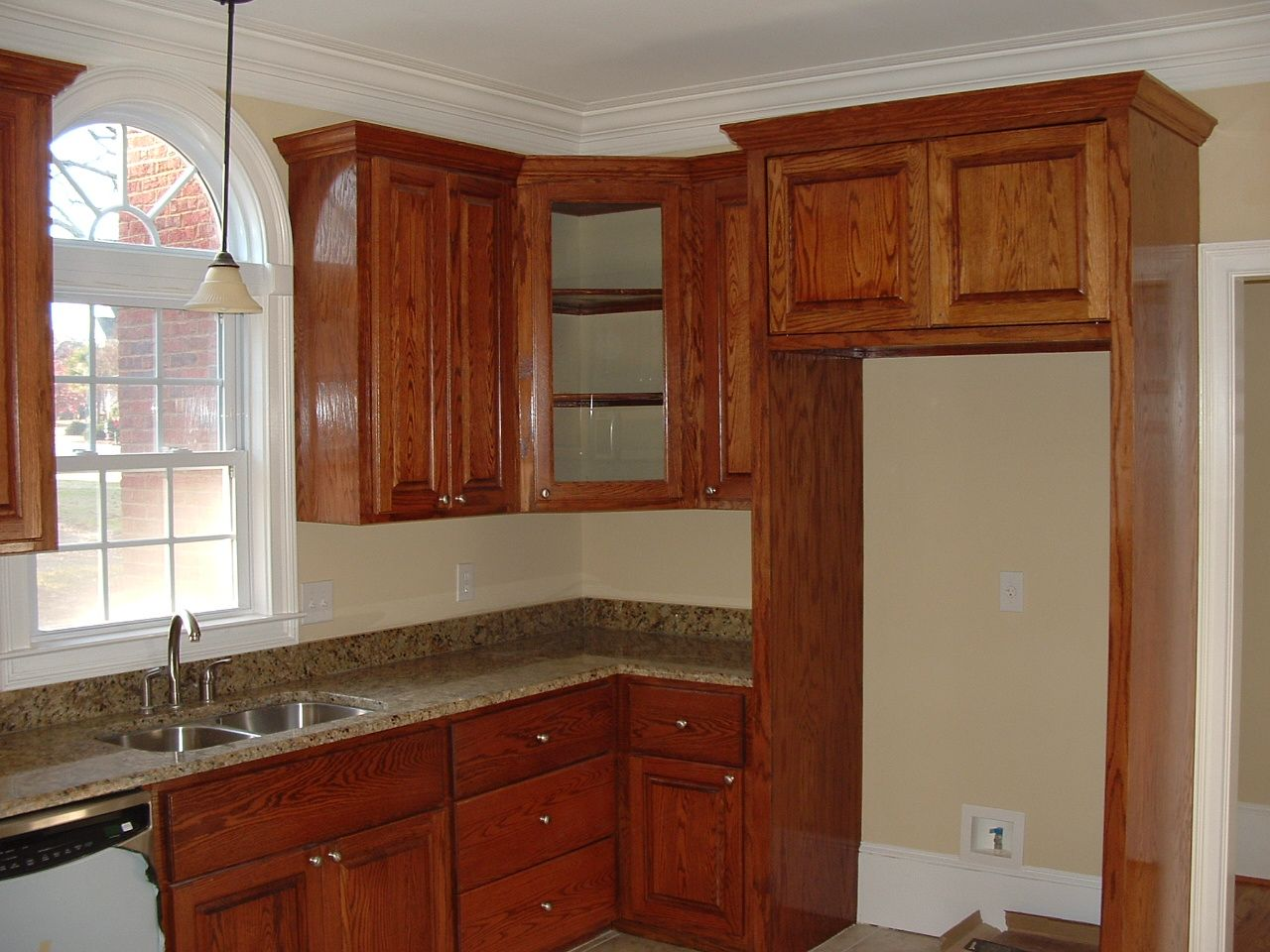 Used Oak Kitchen Cabinets Cabinets Wrap Around And Enclosed Fridge Decorhome