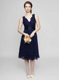Sleeveless V Neck Tea Length Lace Bridesmaid Dress ...