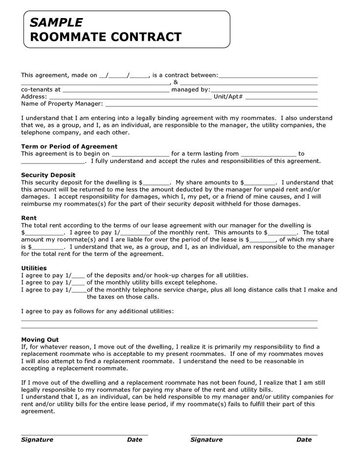 A super simple college dorm room roommate agreement anyone can use - roommate rental agreement