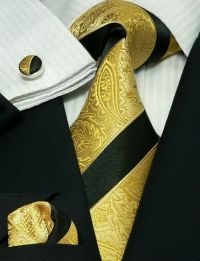 Black and Gold Stripe Paisley Silk Tie Set JPM1838G | Silk ...