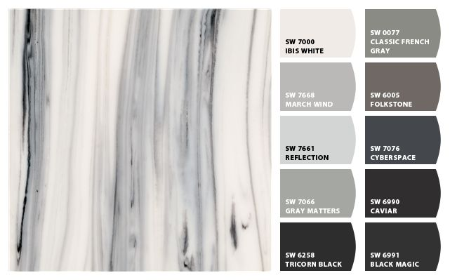 Let your countertops be the star by coordinating paint
