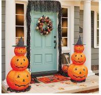 Halloween Pumpkin Decorations 2 Lighted Yard Porch Stack ...