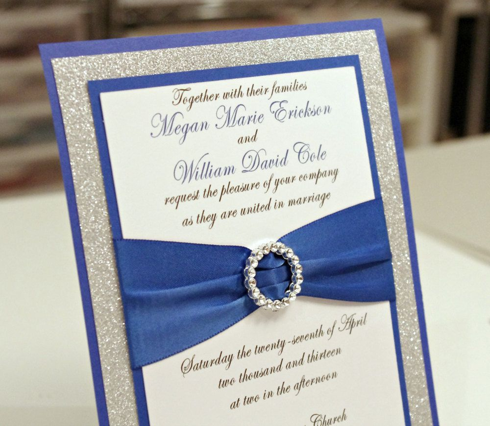 royal wedding invitation Stunning Royal Blue Silver Glitter Wedding Invitation Full of Bling Sparkle and Dazzle via Etsy