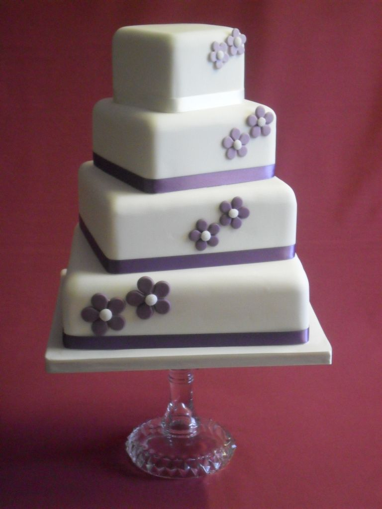 fake wedding cakes 4 Tier Stacked Square Fake Topper Sugar Flowers Wedding Cake