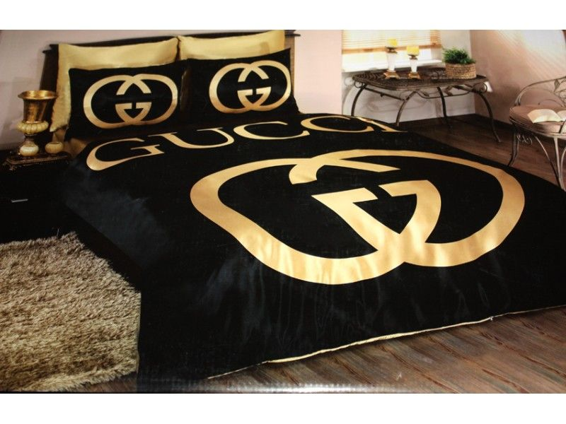Marvelous-Black-And-Gold-Bedroom-Design-Gucci-Bedding-Set-Satin - black and gold bedroom decorating ideas