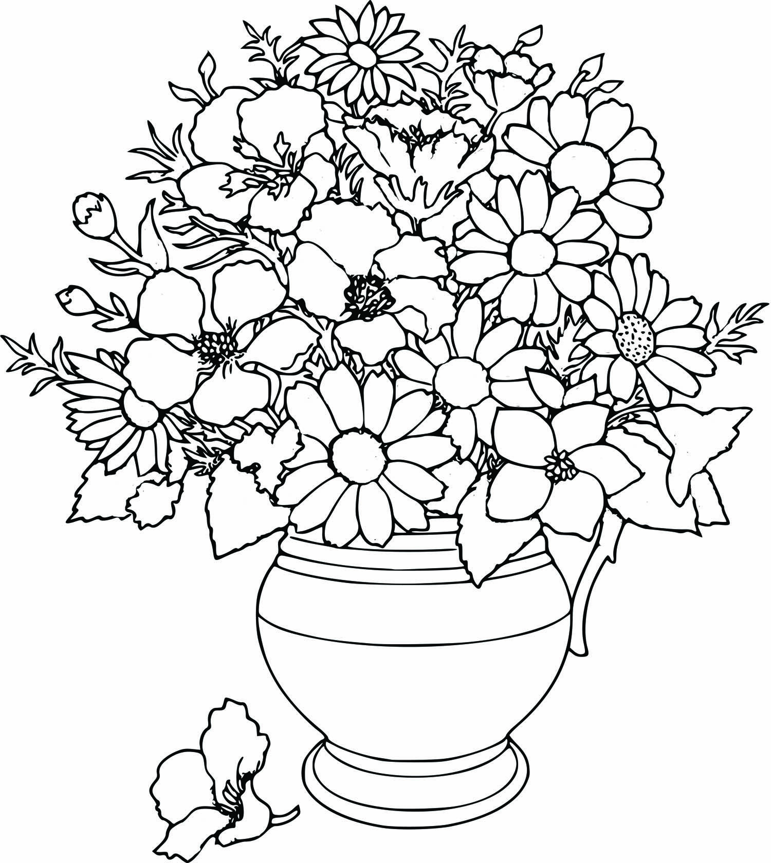 Coloring pages trees and flowers - Coloring Pages Vase