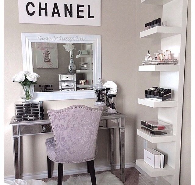 I want a little corner like this in either my bathroom or bedroom - vanity ideas for bedroom