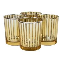Striped Votive Candle Holders - 3 Gold [424480 ...