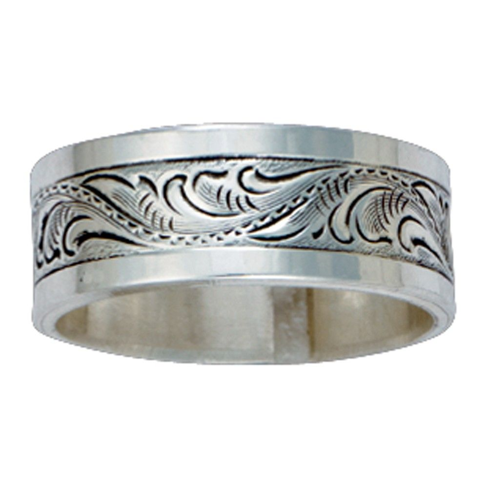 engraved wedding bands Size 10 Pure Montana Men s Sterling Silver Engraved Band RG21M 10
