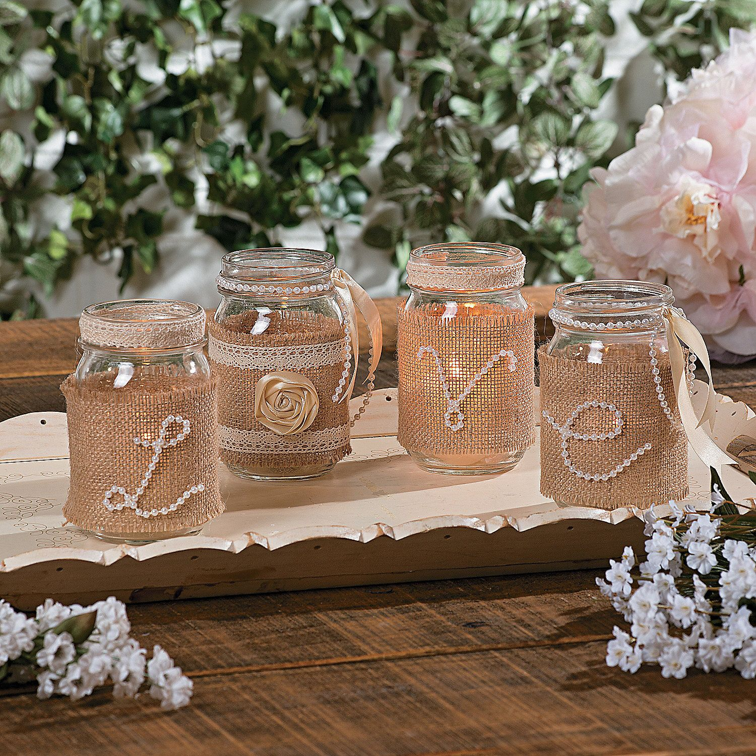 Just Jars Diy Wedding Centerpieces Using Pearls Burlap Ribbon And