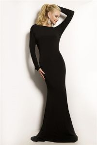 Tight Mermaid Backless Long Sleeve Black Jersey Evening ...