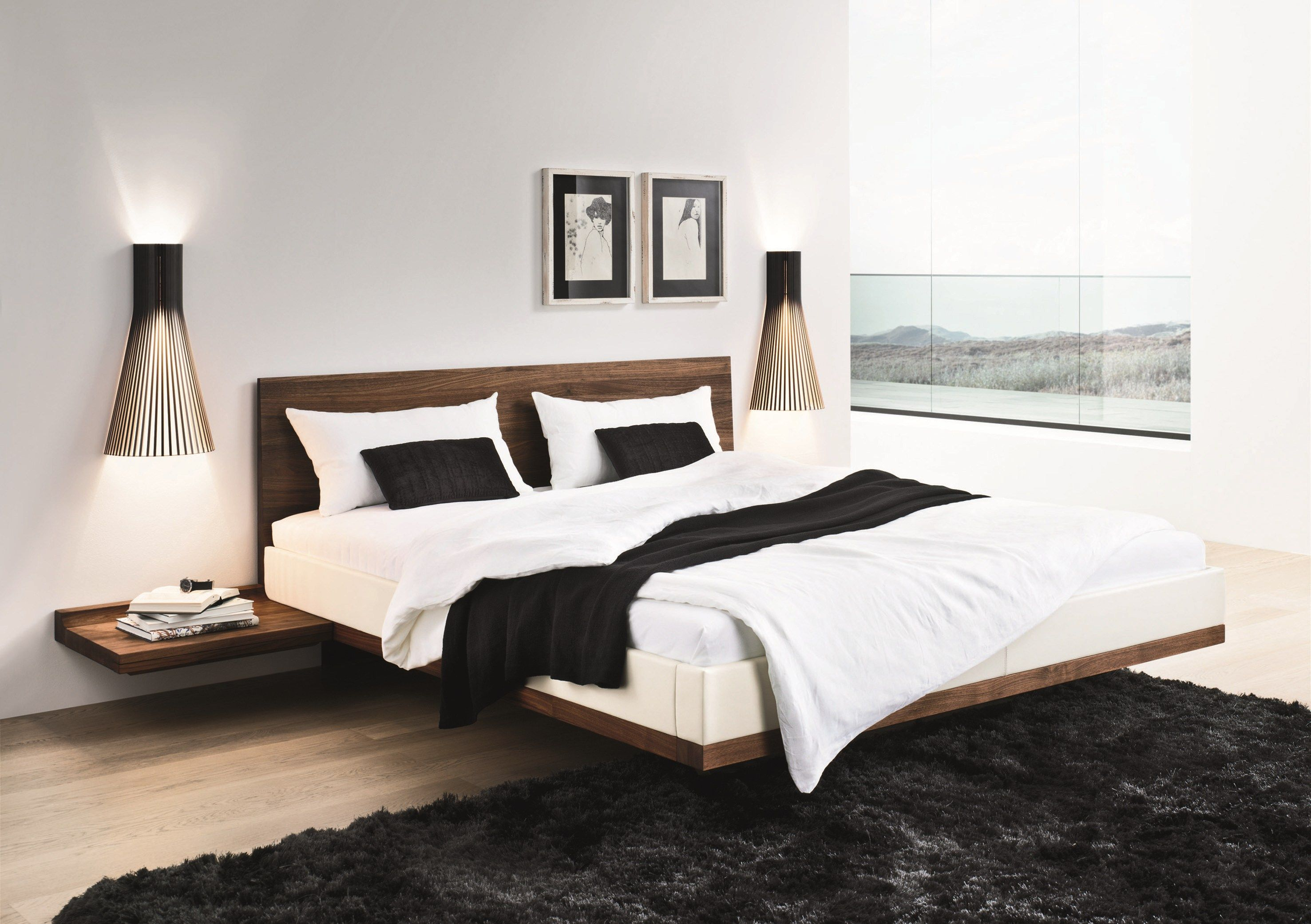 Double Bed Design Latest Riletto Solid Wood Platform Floating Bed Home Decorating