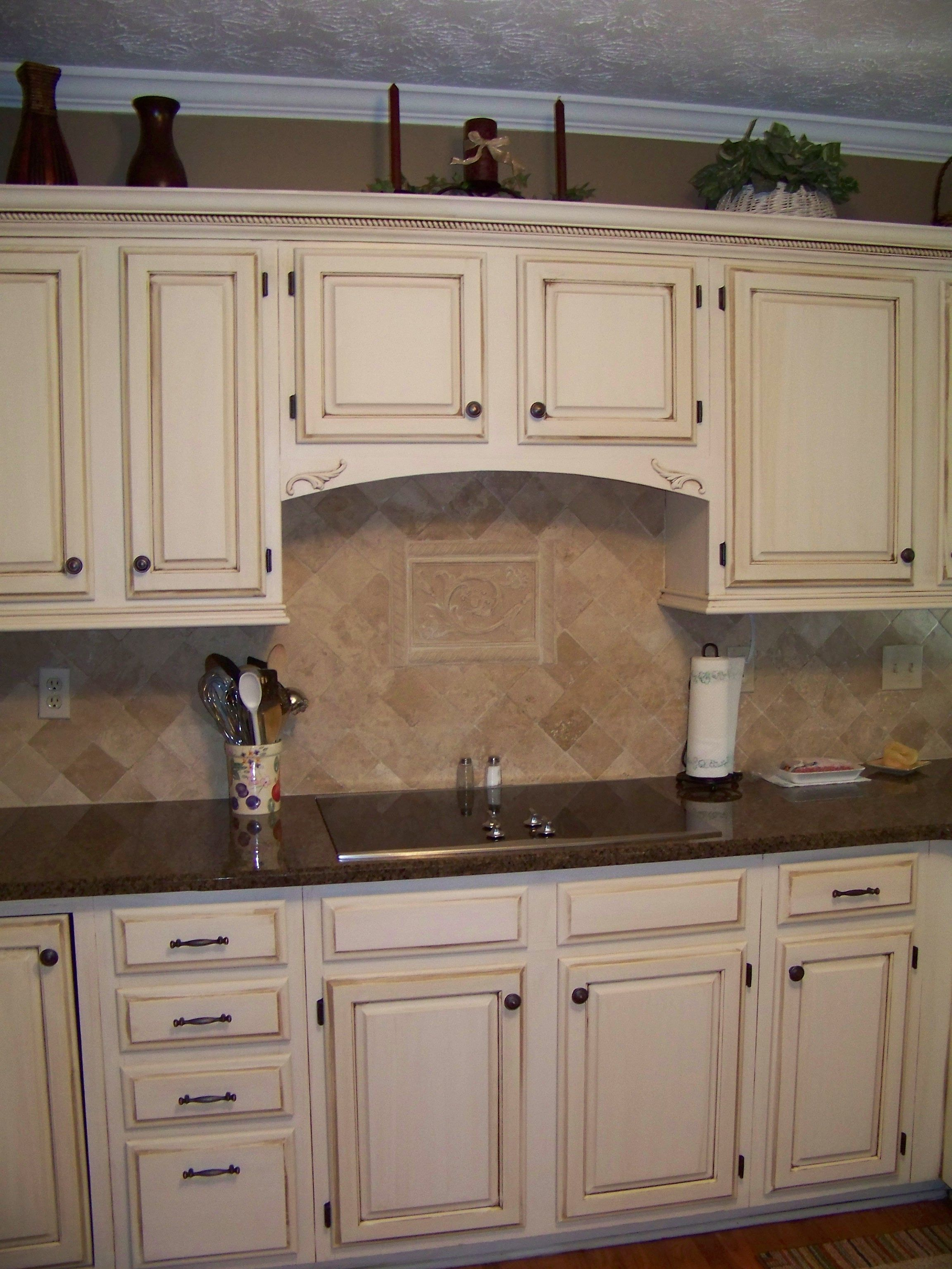 Off White Kitchen Cabinets With Brown Granite Cream Cabinets With Dark Brown Glaze Diy Refinish