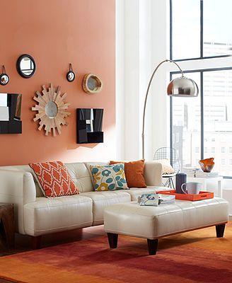 Alessia Leather Sofa Living Room Furniture Collection Furniture - small scale living room furniture