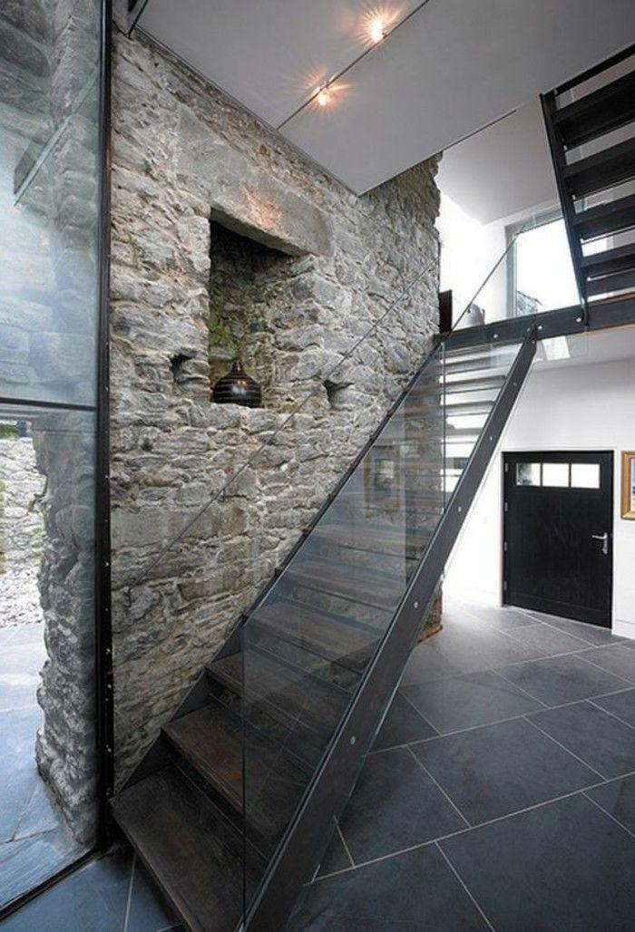 Affordable Glasgelnder Treppe Rustikal Stein Gestaltung Von Treppen Modern  Und Rustikal Mit Treppenhaus With Treppen Modern.