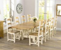 Natural wood dining table, wood and white dining chairs ...