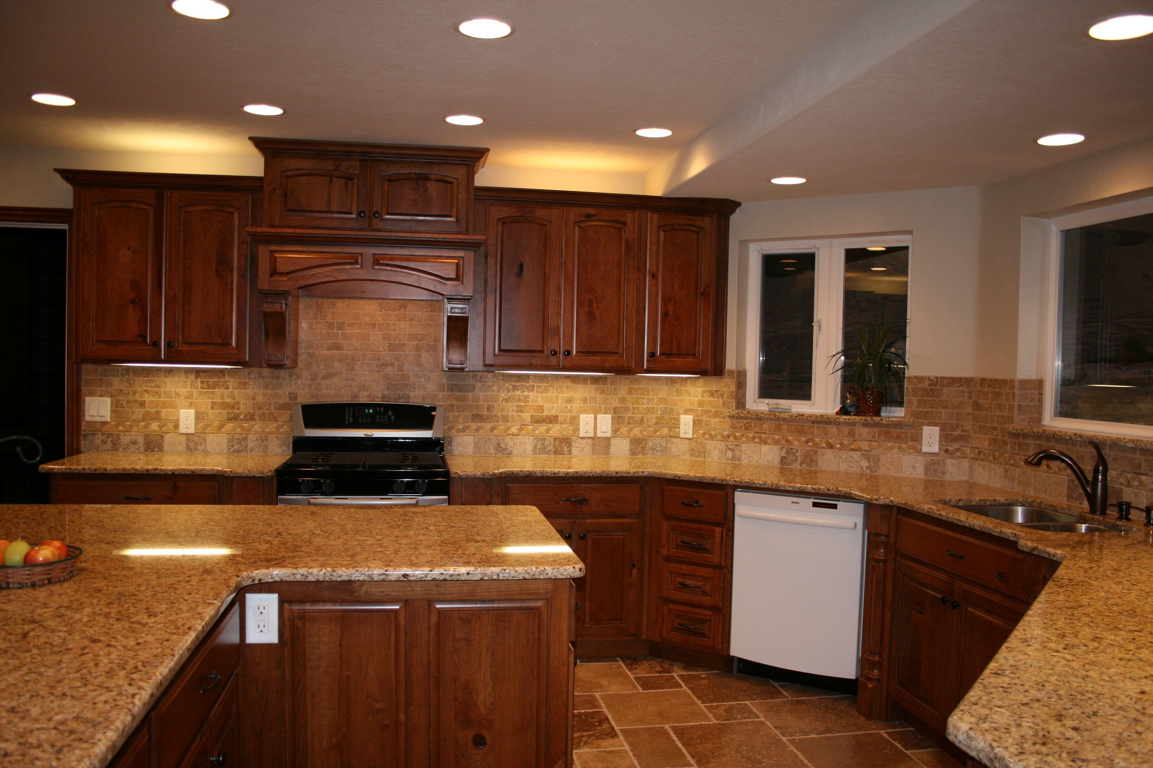 Cherry cabinets with granite countertops home d elegant tile backsplash kitchen
