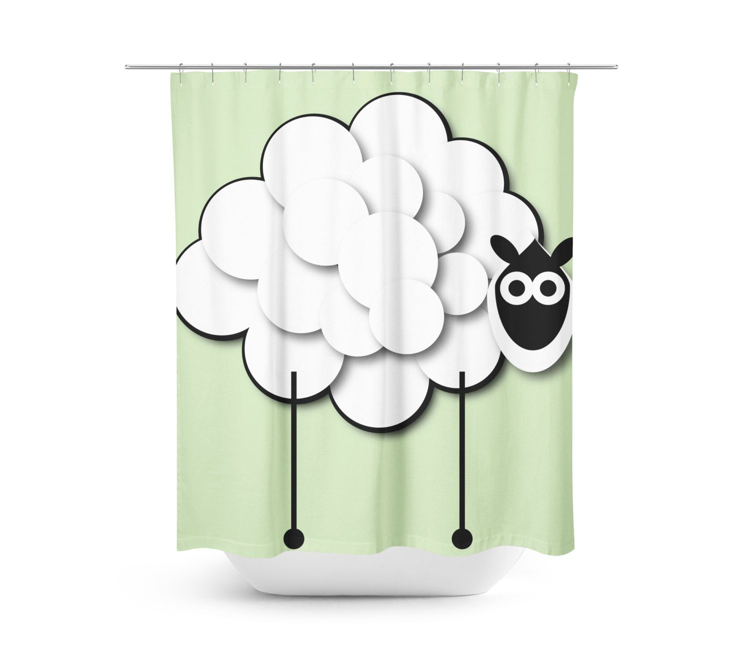 Lemon Green Curtains Lemon The Sheep Green Shower Curtain Things We Make At Happy