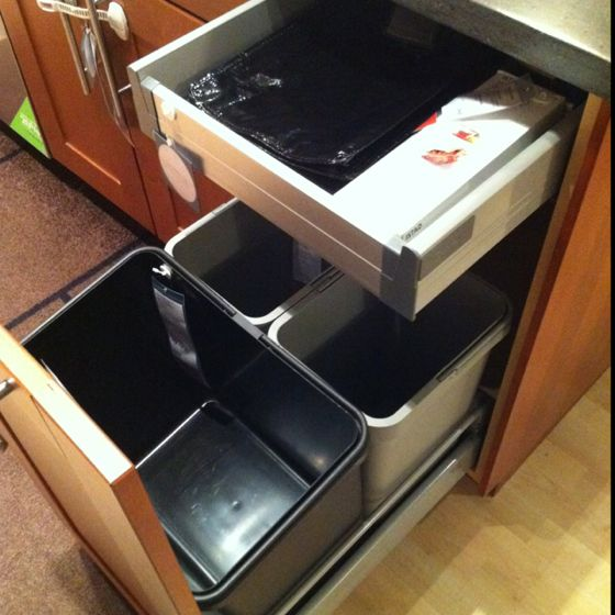Trash can cabinet solution at IKEA kitchens Pinterest - kitchen trash can ideas