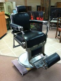 BEAUTIFUL VINTAGE KOKEN BARBER CHAIR CHROME with BLACK ...