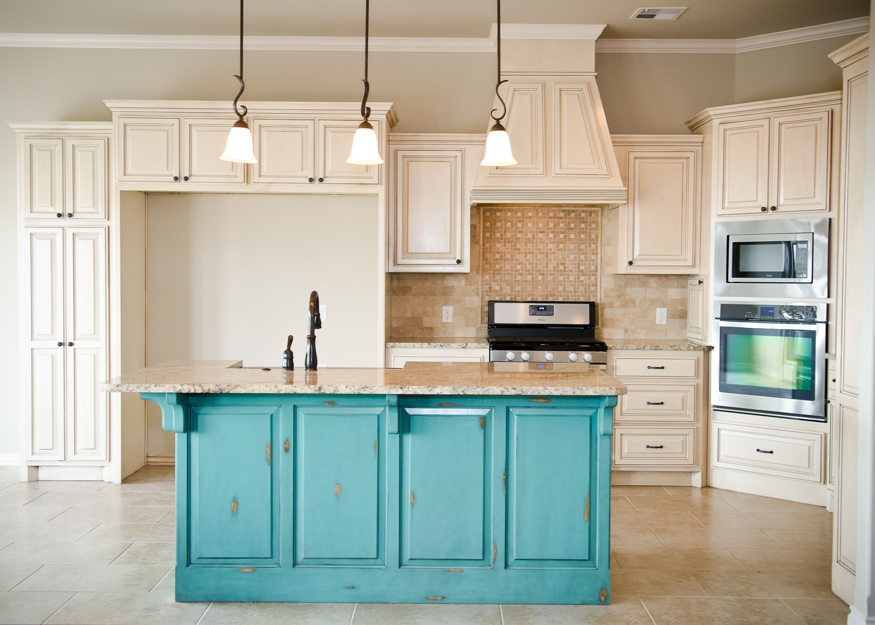 turquoise kitchen cabinets Distressed White Kitchen Cabinets Cream Distressed Kitchen Cabinets With Islands