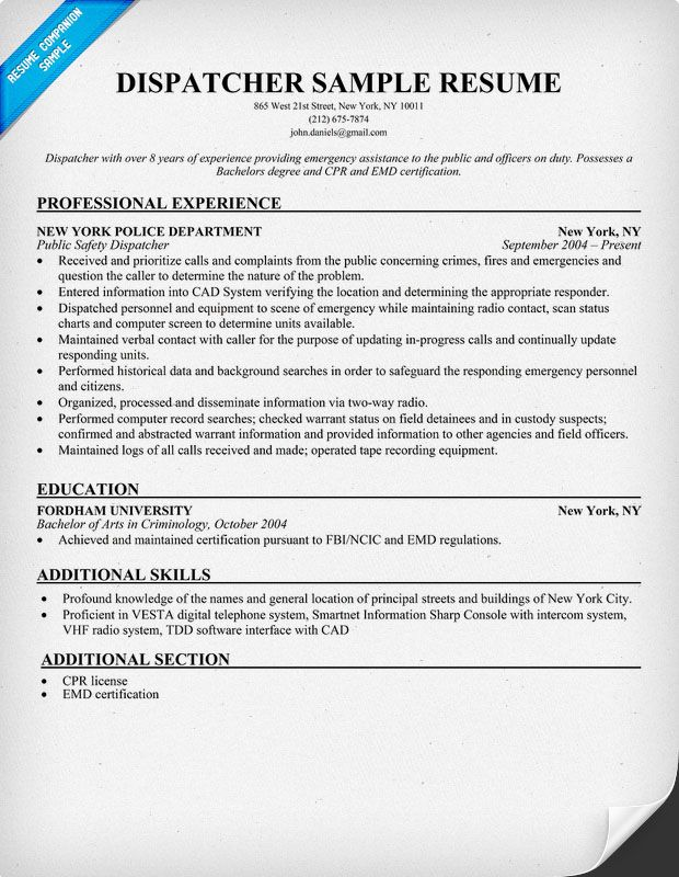 Dispatcher Resume Sample - http\/\/resumesdesign\/dispatcher - dispatcher resume sample