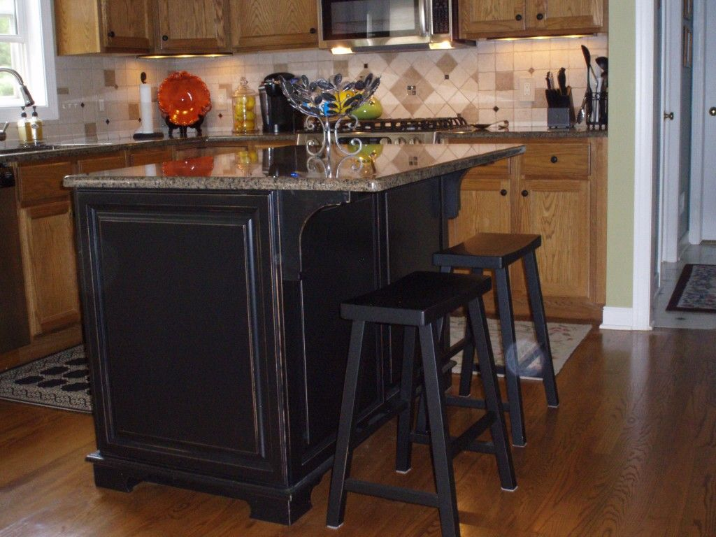 Wood Kitchen Cabinets With Painted Island Painted Kitchen Island Paint Stain Mod Podge